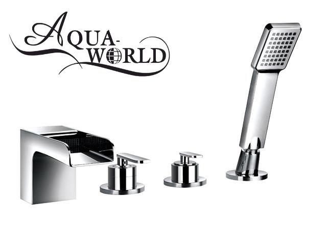 Смеситель для ванны каскад бортовой Aqua-World
