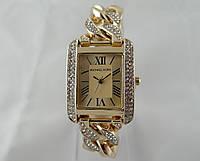 Часы женские в стиле Michael Kors плетеный браслет, прямоугольные, цвет золото, фото 1