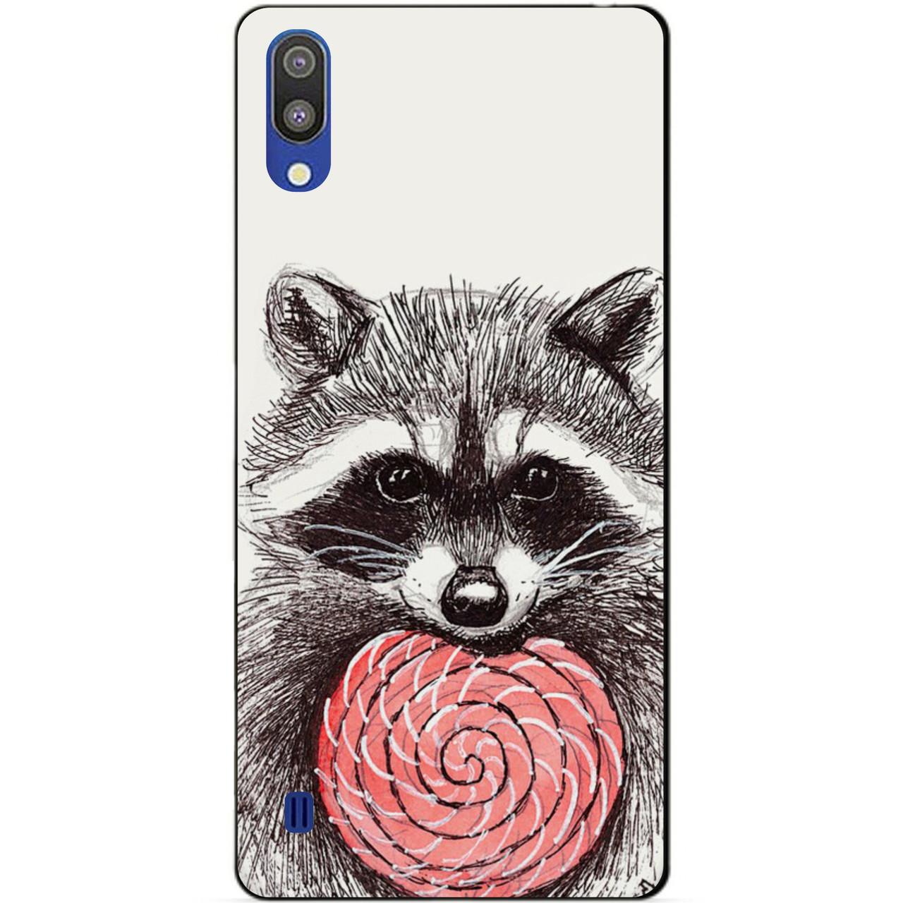 Чехол силиконовый для Samsung M10 2019 Galaxy M105f с рисунком Енот