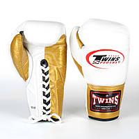 Перчатки боксерские кожаные на шнуровке Twins (р-р 10-16oz, золотой), фото 1