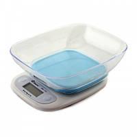 Весы кухонные Domotec ACS SH-125 до 7 кг с чашей и подсветкой, Синие