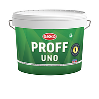 Белая матовая краска без запаха для потолка и стен Gjoco Proff Uno 1 (vit), 9 л, моющаяся, для детских комнат