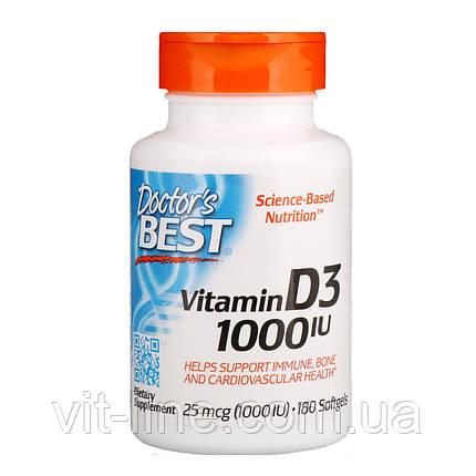 Doctor's Best, Витамин D3, 25 мкг (1000 МЕ), 180 мягких таблеток, фото 2
