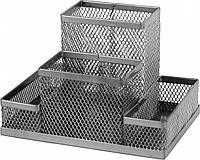 Подставка-органайзер Axent, 155x103x100 мм, металлическая, 4 отделения, серебристая (2117-03-A)