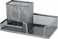 Подставка-органайзер Axent, 203x105x100 мм, металлическая, 3 отделения, серебристая (2116-03-A)