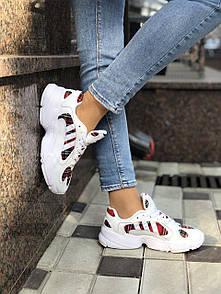 Женские кроссовки Adidas Yung белые из натуральной замши