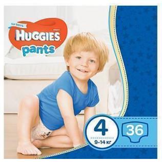 Трусики - подгузники Huggies Pants для мальчиков 4 (9-14 кг)  36 шт.