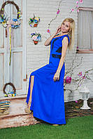 Летний сарафан длинный с гипюром синее, фото 1