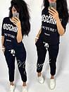 Летний женский спортивный костюм на лето ткань трикотажс модной надписью москино М-ка черный, фото 3