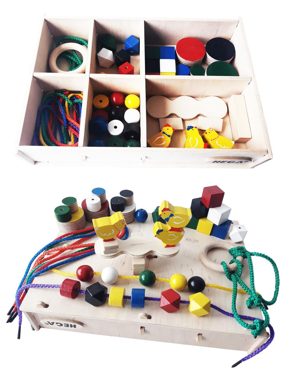 Набір Hega 3 ускладнений  ігровий розвиваючий кольоровий в коробці 46 елементів (68)