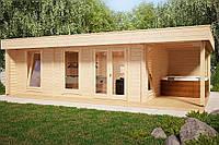 Беседка деревянная из профилированного бруса с закрытой комнатой  8х5