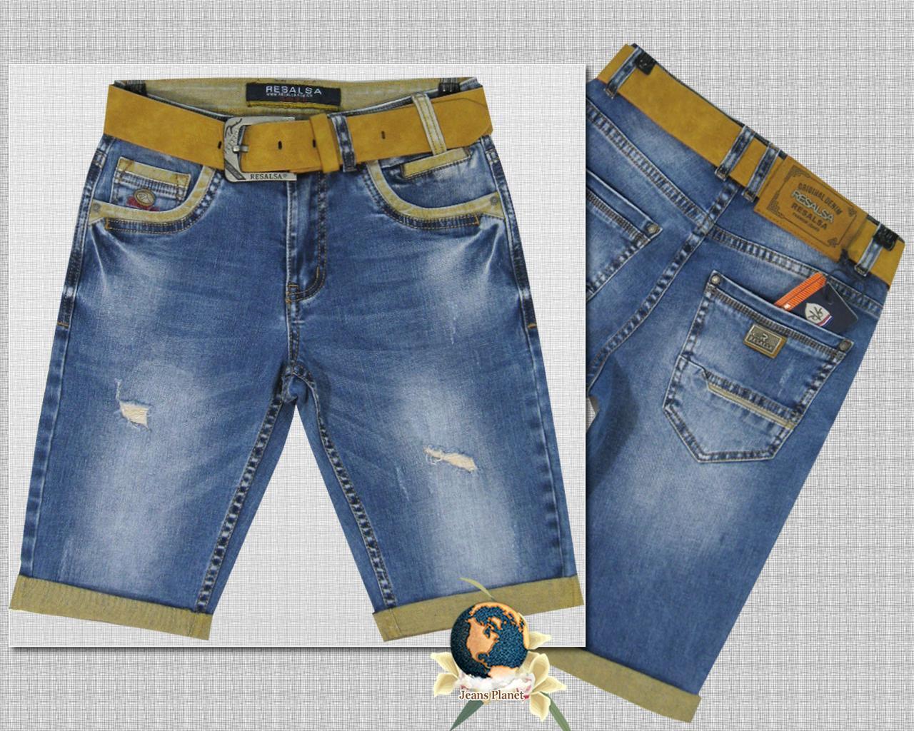 Шорты мужские джинсовые молодёжные Resalsa протёртые с ремнём