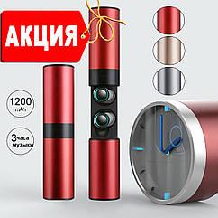 Wi-pods S2 Беспроводные наушники блютуз 5.0 гарнитура Оригинал водонепроницаемые Красный металлик.