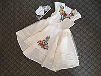 Платье вышитое для подростка с красивыми цветами и пышной юбкой, фото 1