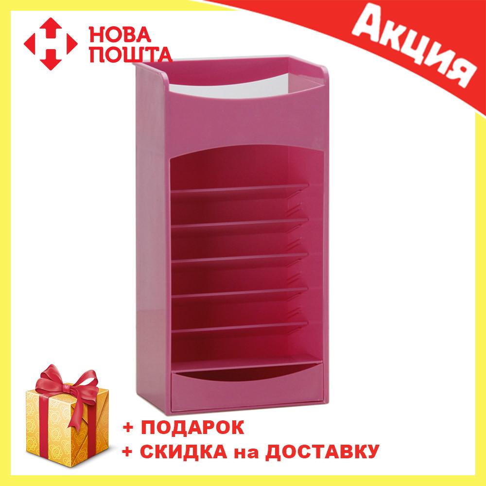 Розовый компактный органайзер - шкафчик для хранения косметики COSMAKE LIPSTICK & NAIL POLISH ORGANIZER , фото 1