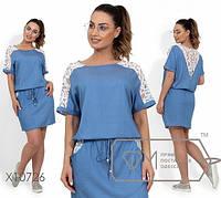 Платье-мини из летнего джинса в горошек c 50 по 56 размер