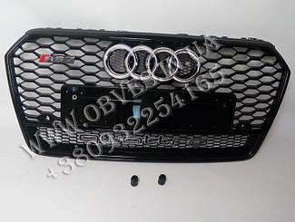 Решетка радиатора Audi A7 2014-2017 (рестайлинг) стиль RS7 Quattro (черная)