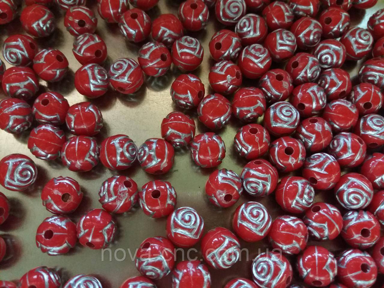 """Бусины  """"роза"""" красно серый 500 грамм"""