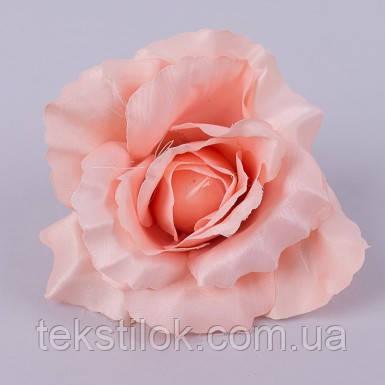 Головка розы 10 см.  пастельно персиковая Цветы искусственные