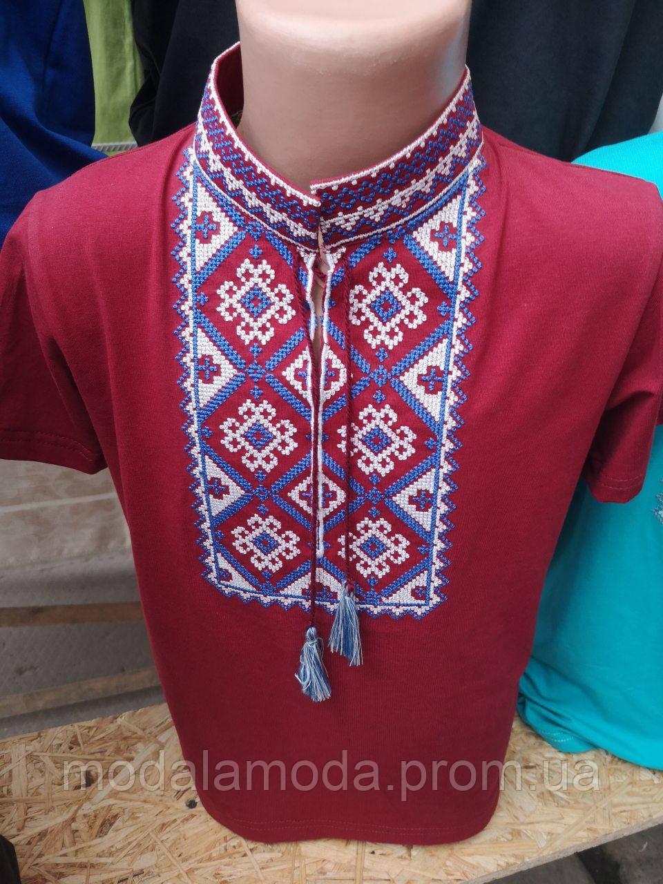 Вышиванка с коротким рукавом для мальчика с орнаментом