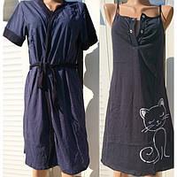 3afae5f3a409 Черная ночнушка с халатом для беременных и кормящих мам Кошка 44-54 р