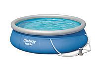 Intex 57321 Бассейн с надувным бортом 396х84см, 7340л, фильтр-насос 2006л/ч