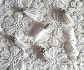 Замшевые кисточки белые, шляпка серебро, размер 38 мм, кисточка белая, замшевая белая кисточка