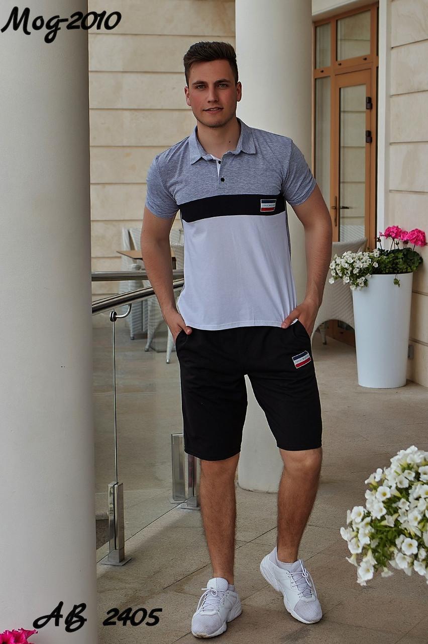 Мужской молодежный летний спортивный костюм: черные шорты и футболка поло, реплика Tommy Hilfiger
