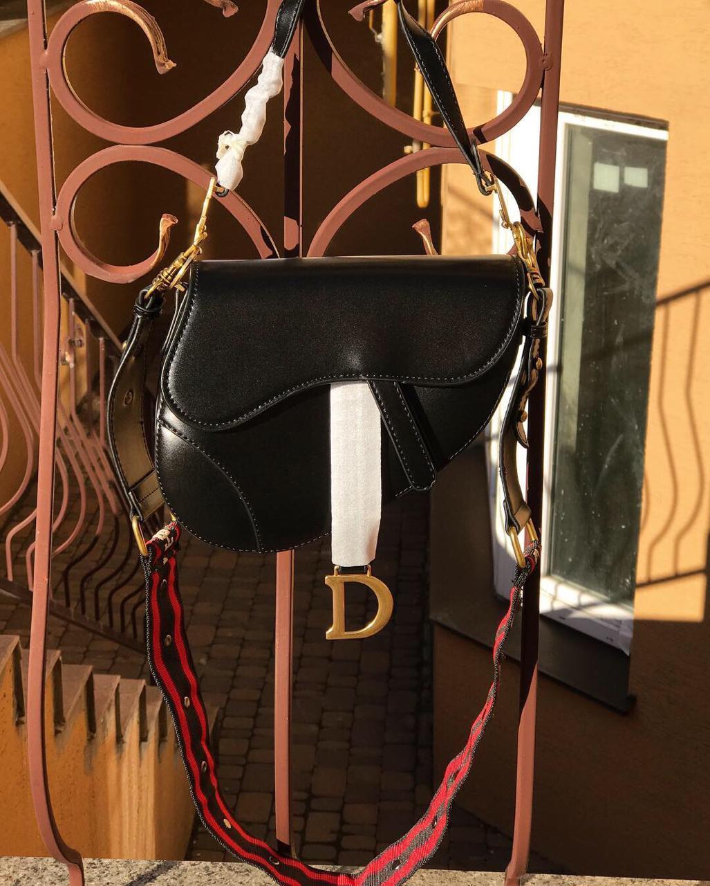 Женская сумочка Dіоr (Диор) SADDLE, черный цвет