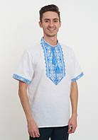 Вишиванка на короткий рукав (домоткана) з блакитною вишивкою