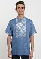 Чоловіча вишиванка короткий рукав джинсовий колір, фото 1
