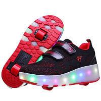 Светящиеся кроссовки на 2-х роликах с USB зарядкой. Премиум качество! Летняя серия!