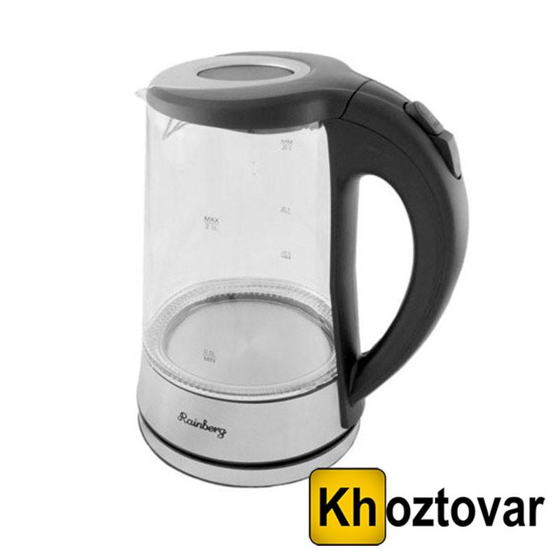 Электрический чайник Rainberg RB-704 | Дисковый стеклянный чайник с LED подсветкой
