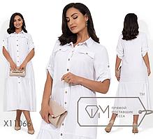 Платье-рубашка миди из льна большого размера Размеры: 48,50,52,54,56