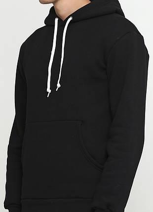 Худи мужское, теплое с начесом, черное, фото 2
