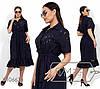 Летнее платье из прошвы с рубашечным воротником с 48 по 54 размер
