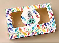 """Коробка """"ПІР""""ЯЧКО"""" для  зефіру, десертів, тістечок, еклерів 200*115*50 з мелованого картону з вікном ПВХ-плівк"""