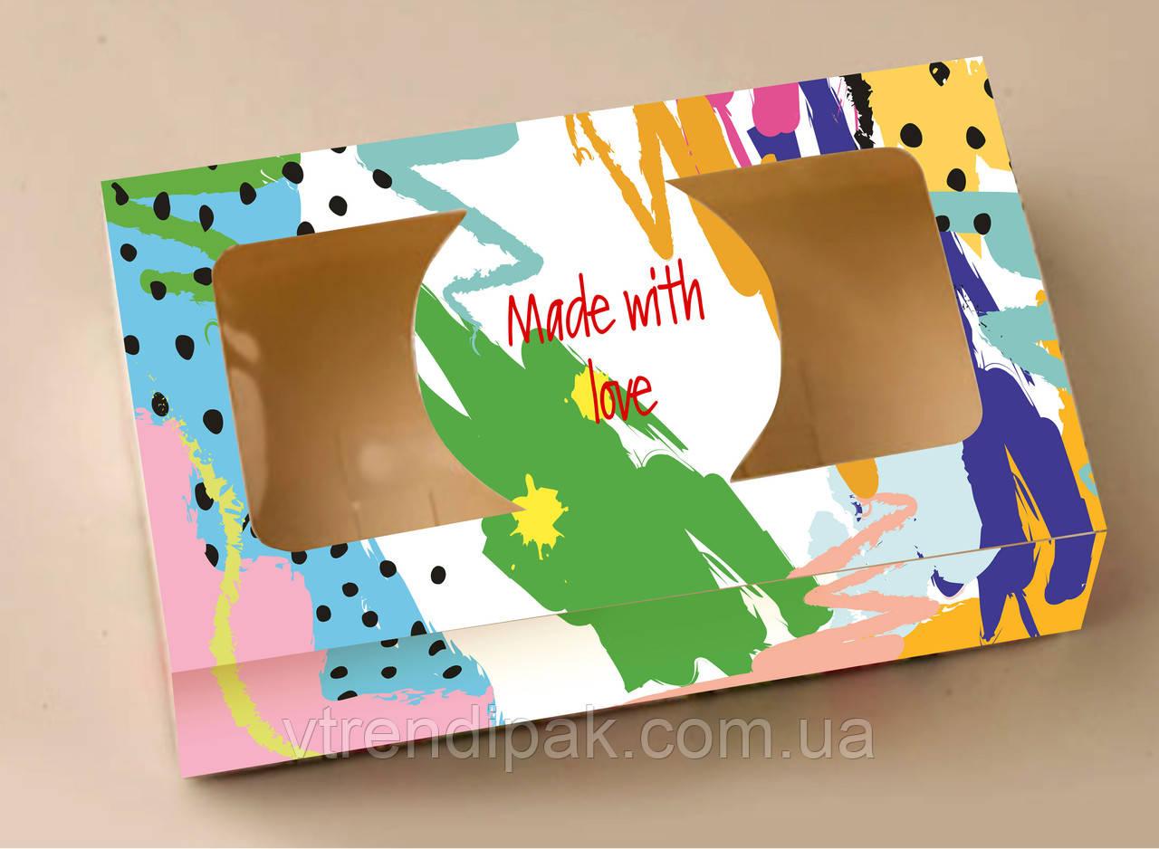 """Коробка """"ФАРБА"""" для  зефіру, десертів, тістечок, еклерів 200*115*50 з мелованого картону з вікном ПВХ-плівк"""