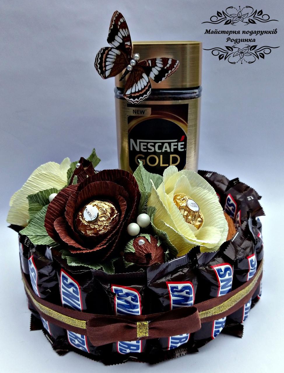 Солодкий букет, торт - подарунок  з цукерками та кавою . Подарунок на День народження, ювілей