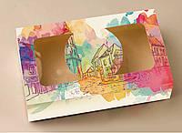 """Коробка """"МІСТО"""" для  зефіру, десертів, тістечок, еклерів 200*115*50 з мелованого картону з вікном ПВХ-плівк"""