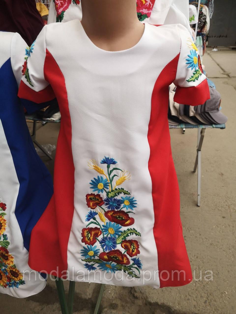 Платье вышитое детское с полевыми цветами