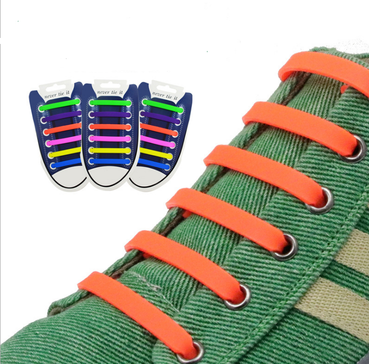 Силиконовые шнурки одной длины для обуви. 12 штук в комплекте