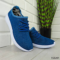 """Мокасины женские, синие """"Mocky"""" текстильные, кроссовки женские, кеды женские, повседневная обувь"""