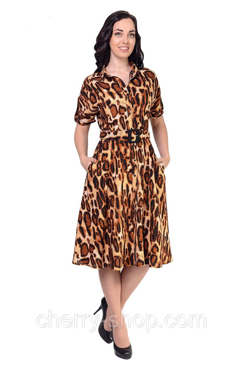 Платье в рубашечном стиле в леопардовый принт