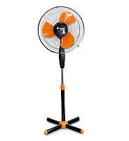 ✅ Вентилятор напольный Domotec FS-1619, электровентилятор бытовой, Чёрно-оранжевый, в Украине