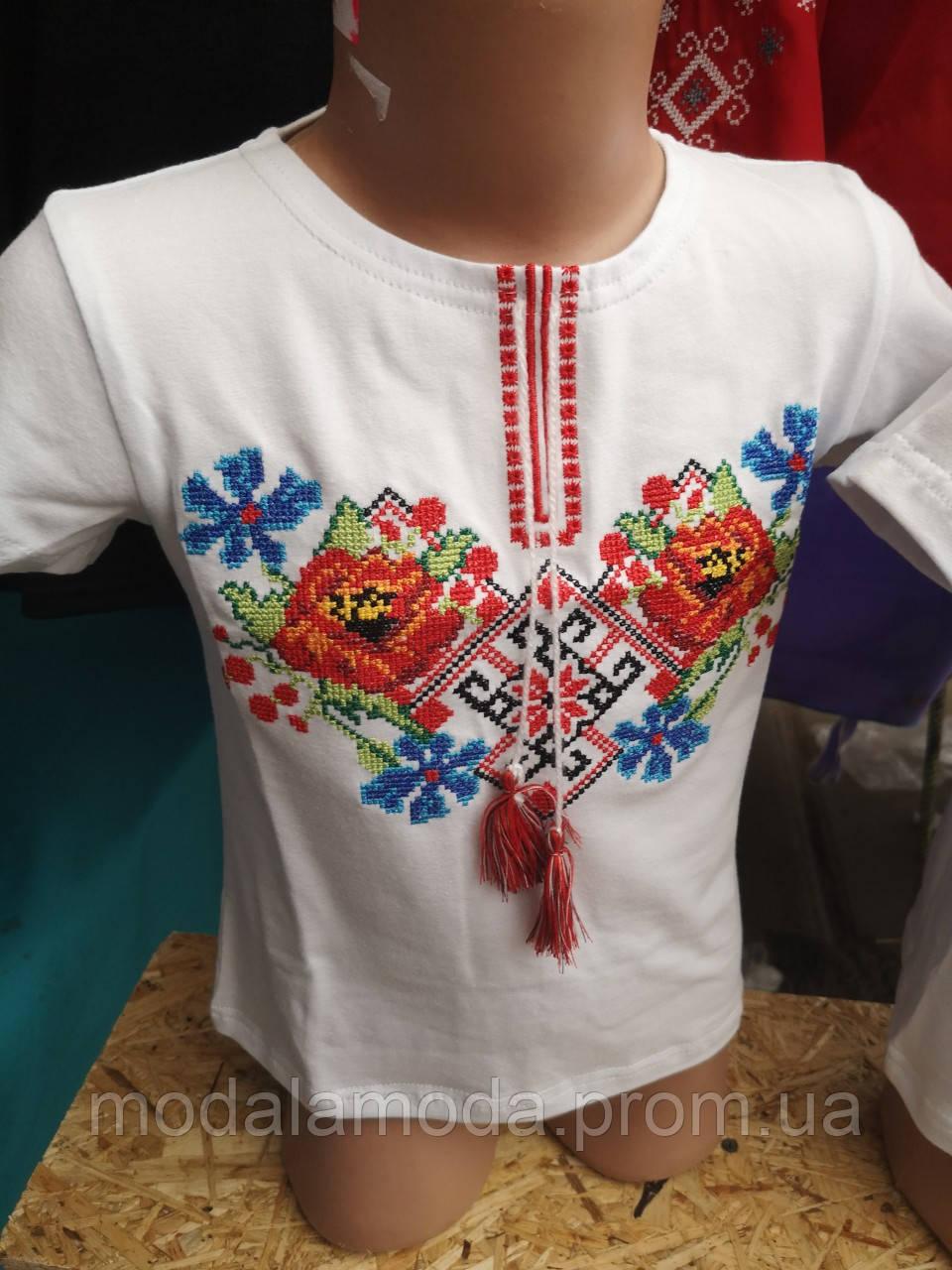Вышиванка нарядная с цветочным орнаментом для девочки