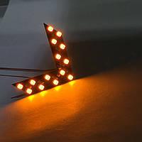 LED указатели поворота зеркала заднего вида, ВТВ желтые, пара