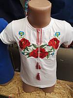 Вышиванка нарядная для девочки белая с орнаментом мака