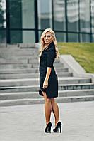 Черное батальное платье с декором