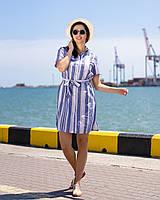 Платье рубашка летнее в полоску голубое, фото 1